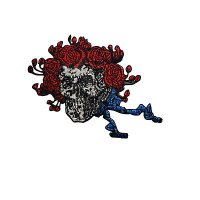 Grateful Dead Skull & Roses Embroidered Iron On Patch - Rock Music Band 152-V