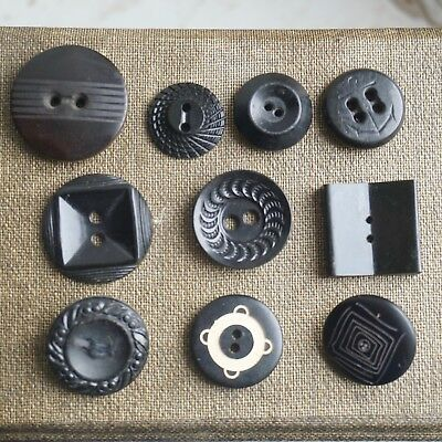 10 Antique Vintage Mixed Plastic Bakelite Buttons Black Small Size Circle Square