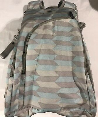 ECOSUSI Diaper Backpack Fully-Opened Baby Diaper Bag w/ Changing Pad Gray/Mint