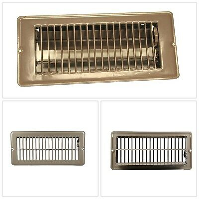Brown Floor Register 4 x 10 in. Durable Steel Louvered HVAC Parts Accessories US