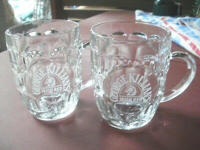 George Killian's Irish Red Amber Lager Dimpled 16 Oz Glass Beer Mugs Lot of 2