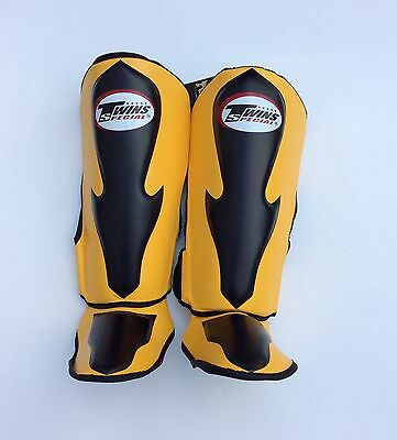 Twins Special Sgl-6 Shin Guards Size M In Yellow/Blk.