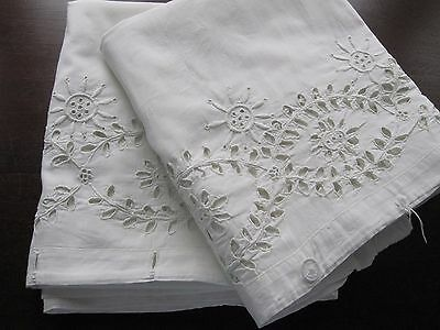 Pair 2 Antique White Linen Pillowcases Hand Stitched Broderie Anglais Lace Trim