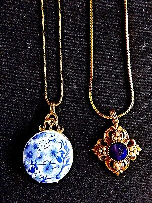 "2 Elegant Pendant Necklaces 24"" Chain -Blue & White Floral & Faux Pearl Filigree"
