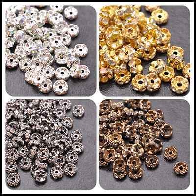 50Pcs GOLD SILVER WAVY Czech Crystal Rhinestone Rondelle Spacer Beads 6MM 8MM