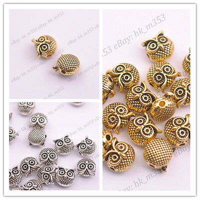 FREE SHIP 10Pcs Tibetan Silver Owl Charm Spacer Beads Jewelry Findings 11X10MM