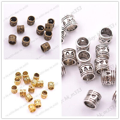 100Pcs Tibetan Silver Big Hole Charms Loose Spacer Beads 5MM K3020
