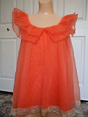 Vtg INTIME Double Layer Sheer Chiffon Nightgown Gown Negligee Size P petite fe7d08b61