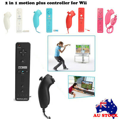 2in1 Motion Plus Remote+Nunchuck Controller for Nintendo Wii+Silicon Case Strap