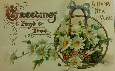 1908s HAPPY NEW YEAR, RARE  Old Vintage Postcard A2