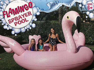 New! Giant Pink Flamingo Pool With Water Sprayer/fountain & Bench Seat