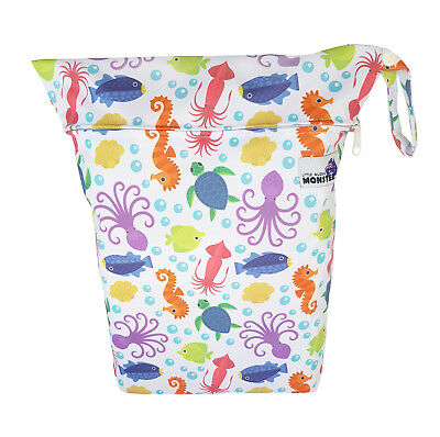 Colorful Sea Creatures Large Zip Dry & Wet Bag - Baby Cloth Nappies, Waterproof