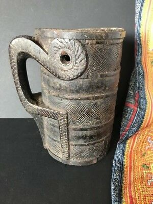 Old Carved Wooden Nepali Milk Pitcher …beautiful collection piece
