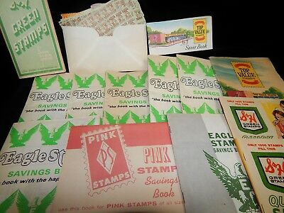 Vintage Coupons, LOT OF 14 GROCERY STORE STAMP BOOKS, S&H, Eagle, Top Value,Pink