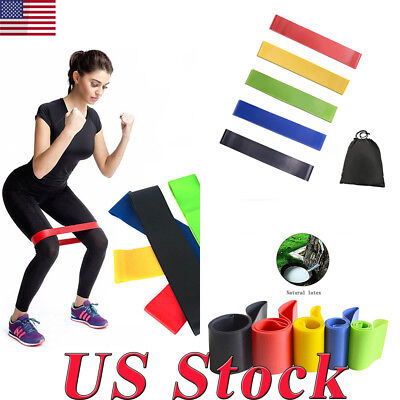 Yoga Pilates Workout Fitness Colors Elastic Resistance Loop Bands For Exercise