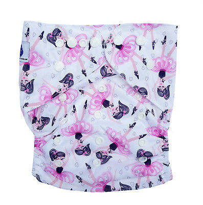Junior XL Modern Cloth Nappy FREE Insert Baby Toddler up to 20kg Cute Ballerina