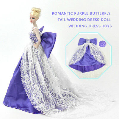 Handmade Purple Butterfly Wing Tail Wedding Dress For Barbie Doll Party Gown