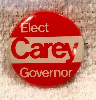 "Vintage ""Elect (Hugh) Carey Governor"" NYS Promo Pin Pinback Button Mid 1970s"