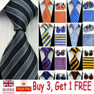Mens Wedding Silk Tie Sets Fashion Business Necktie Cufflinks Hanky Set Neckties