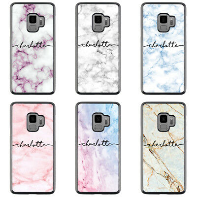For Samsung Galaxy Phones - Style Case Cover Marble Personalised Custom Name