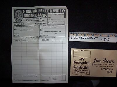 Vintage 1930's Jim Brown Fence & Wire Company Order Blank and Envelope Free Ship