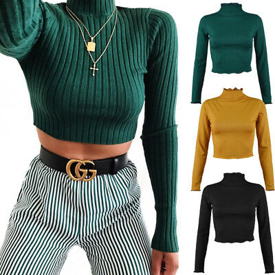 Women's Turtleneck Stretch Crop TOPS Shirt Sweater jumper Knit Pullovers Blouse