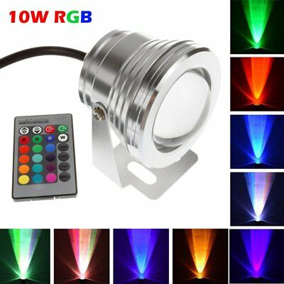 10W RGB LED Submersible Underwater Spot Light Garden Lawn Pond Aquarium Fountain