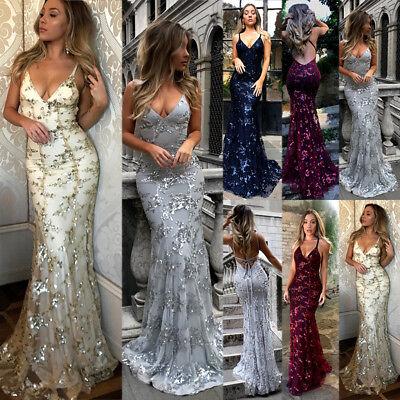 Womens Sequins Mermaid Long Evening Party Dress Wedding Backless Sexy Dresses