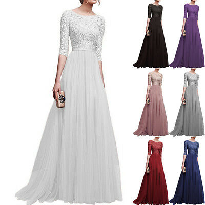 Women Half Sleeve Long Evening Party Dress Ladies Lace Patchwork Wedding Dresses