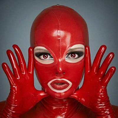 Latex Hood Open Eyes and Mouth for Catsuit Rubber Mask Costume Club Wear Cosplay