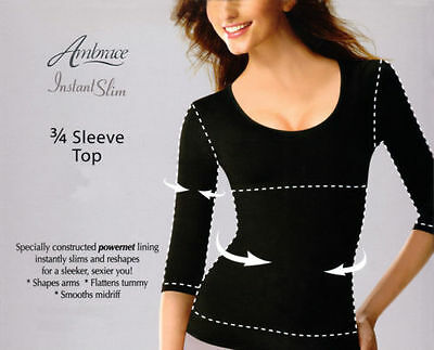 Ambrace Instant Slim 3/4 Sleeve Top in Black New, Size S and M