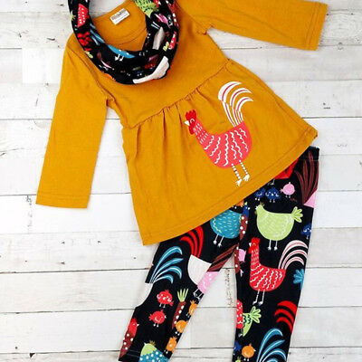 Thanksgiving Kids Baby Girl Cotton Top Dress Long Pants Scarf Outfit Clothes USA
