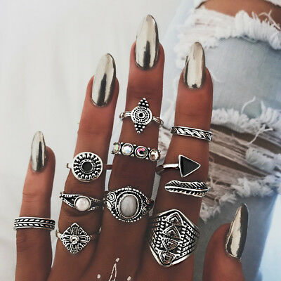 10X Ladies Bohemian Tribal Ethnic Hippie Joint Knuckle Ring Chic N7