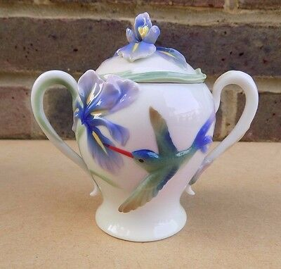 FRANZ Porcelain Long Tail Hummingbird Sugar Bowl