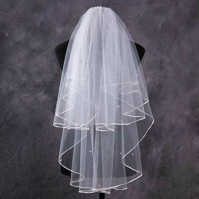 White Veil With Diamanté Crystals Beads