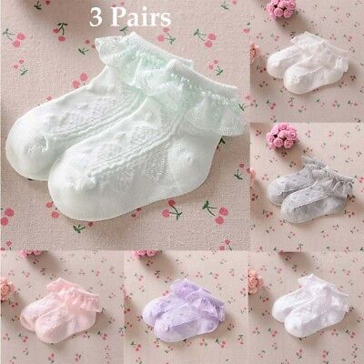 3Pairs Girls Kids Baby Toddlers Lace Trim Frilly School Socks Ankle Socks Cotton