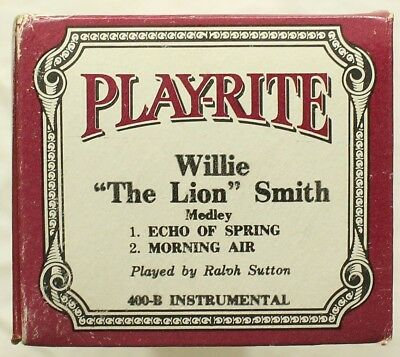 """RALPH SUTTON """"Willie """"The Lion"""" Smith Medley"""" PLAY-RITE 400-B [PIANO ROLL]"""