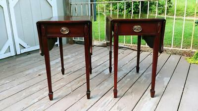 Antique Pair STIEHL Solid Mahogany Federal Drop Leaf Pembroke Tables w/ Drawer