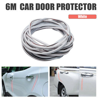 New 6M Car Door Edge Guard Rubber Moulding Strip Trim Protector Cover White
