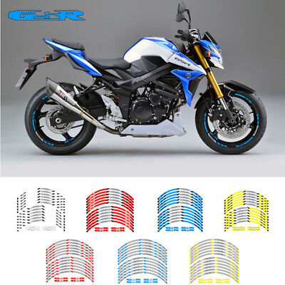 "Motorcycle Rim ""17 Stripes Wheel Decals Tape Stickers For Suzuki Gsr 400 750 600"