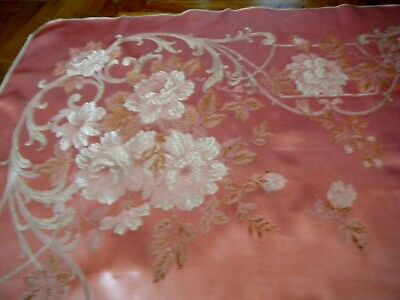 Antique 18-19c Tapestry French Pink Silk Roses &foliage Sample Heavy Fabric