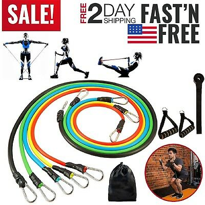 Resistance Tubes Bands Workout Exercise Fitness Train Elastic Stretch Loop Set