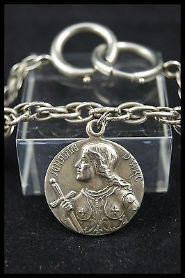 † St Joan Of Arc Silver Plated Medal + Little Watch Chain 1412 - 1431 France †