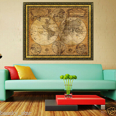 Vintage Style Retro Cloth Poster Globe Old World Nautical Map Gifts Home Decor A