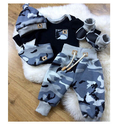 UK Newborn Infant Baby Boy Casual Top Romper Pants Beanie Hat Outfit Clothes Set