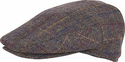 Traditional Scottish Scots Style Wool Blend Checked Tweed Hunting Golf Flat Cap