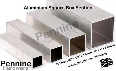 ALUMINIUM SQUARE BOX SECTION 11 Sizes 10 Lengths