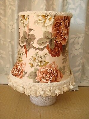 One Of A Pair Vintage Floral Large  Lampshade With Bell Tassels