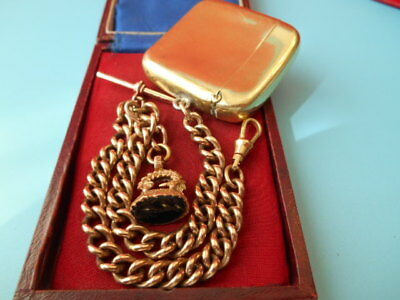 ANTIQUE ROLLED GOLD DOUBLE ALBERT CHAIN VESTA CASE & SEAL FOB NOT SCRAP 65.7gm