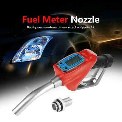 Fuel Gasoline Diesel Petrol Oil Delivery Gun 1'' Nozzle Dispenser & Flow Meter